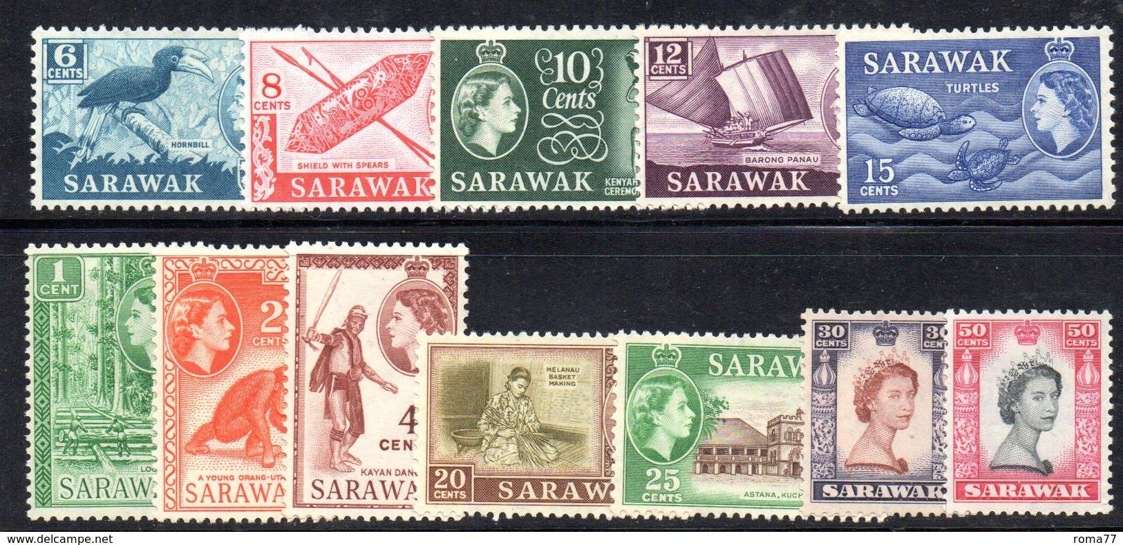 CI1340b - SARAWAK 1955 , Ordinaria 12 Valori Linguellati  * - Sarawak (...-1963)