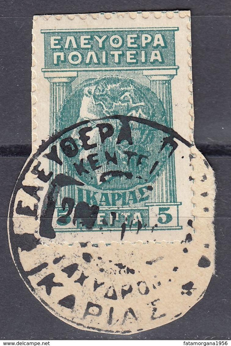 GRECIA - ICARIA - 1912 - Lotto Di 3 Valori Usati Su Frammento Cartaceo: Yvert 1/3. - Karia