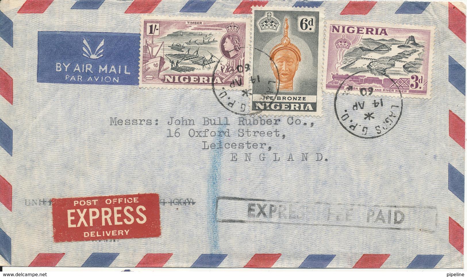 Nigeria Air Mail Cover Sent Express To England 14-4-1960 - Nigeria (...-1960)