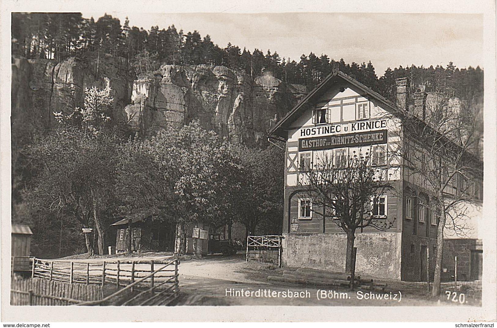 AK Kirnitzschenke Kirnitzschänke Kirnitzschschänke Gasthof Hinterdittersbach Hinterdaubitz Hinterhermsdorf Khaa Daubitz - Sudeten
