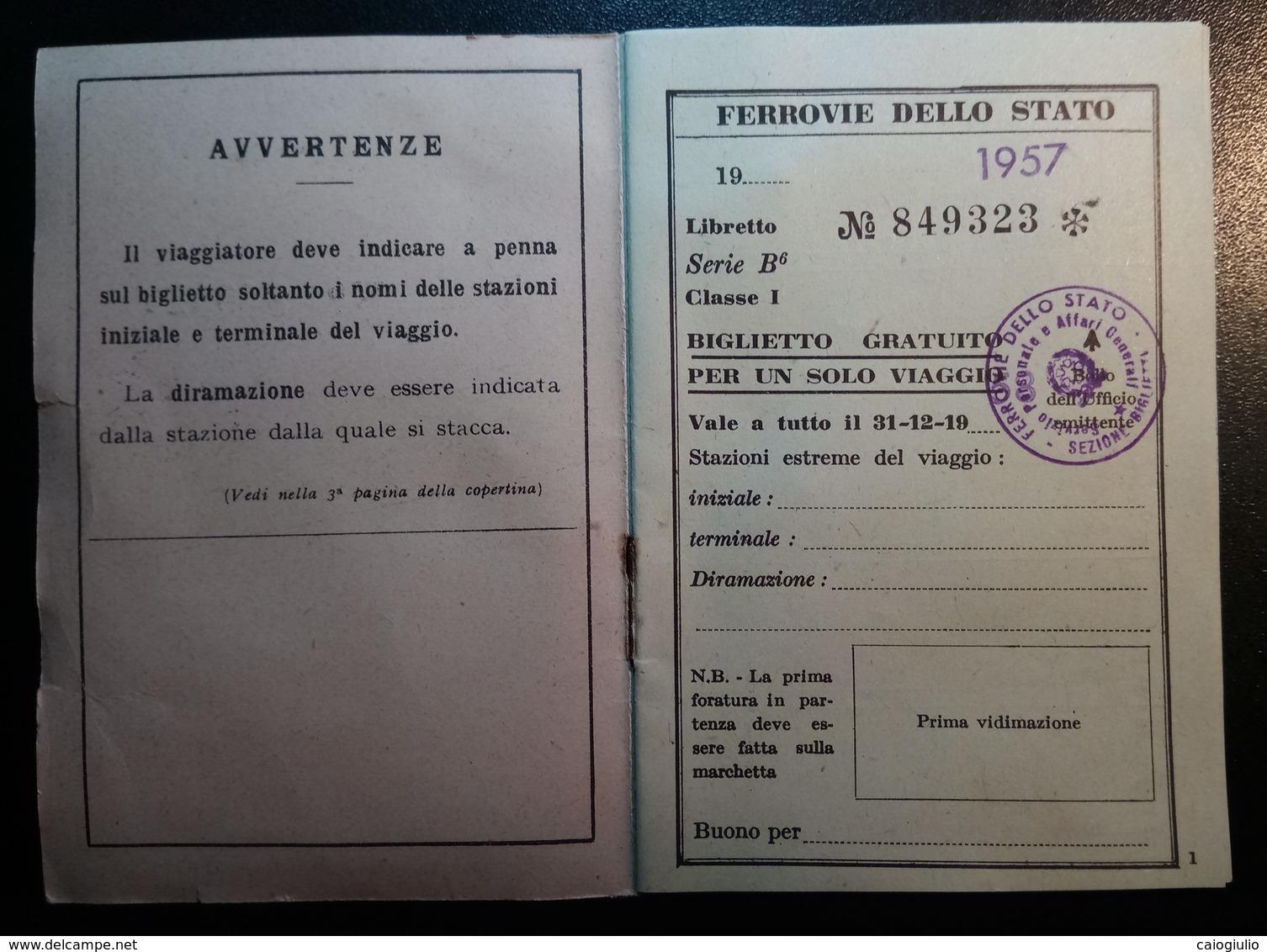 TESSERA FERROVIE DELLO STATO 1957 VIAGGI DEL PERSONALE E FAMIGLIE - Ferrovie