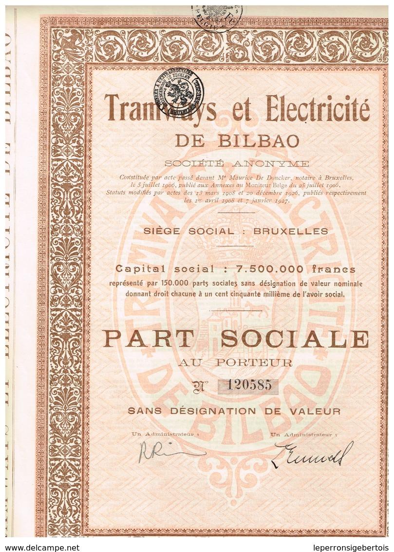 Ancien Titre - Tramways Et Electricité De Bilbao Sté Anonyme  -  Titre De 1927 - Chemin De Fer & Tramway