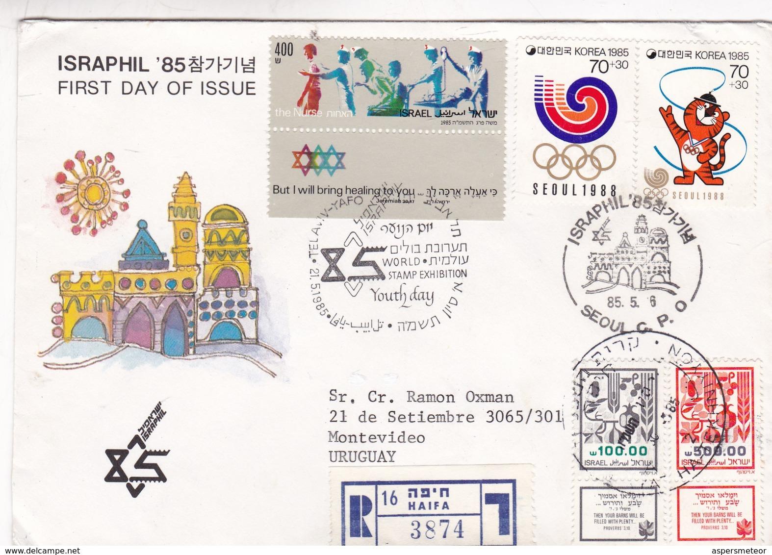 1988 FDC ISRAPHIL 85 CIRCULEE SEOUL SOUTH KOREA A MONTEVIDEO MIXED STAMPS RECOMMANDE - BLEUP - Corea (...-1945)