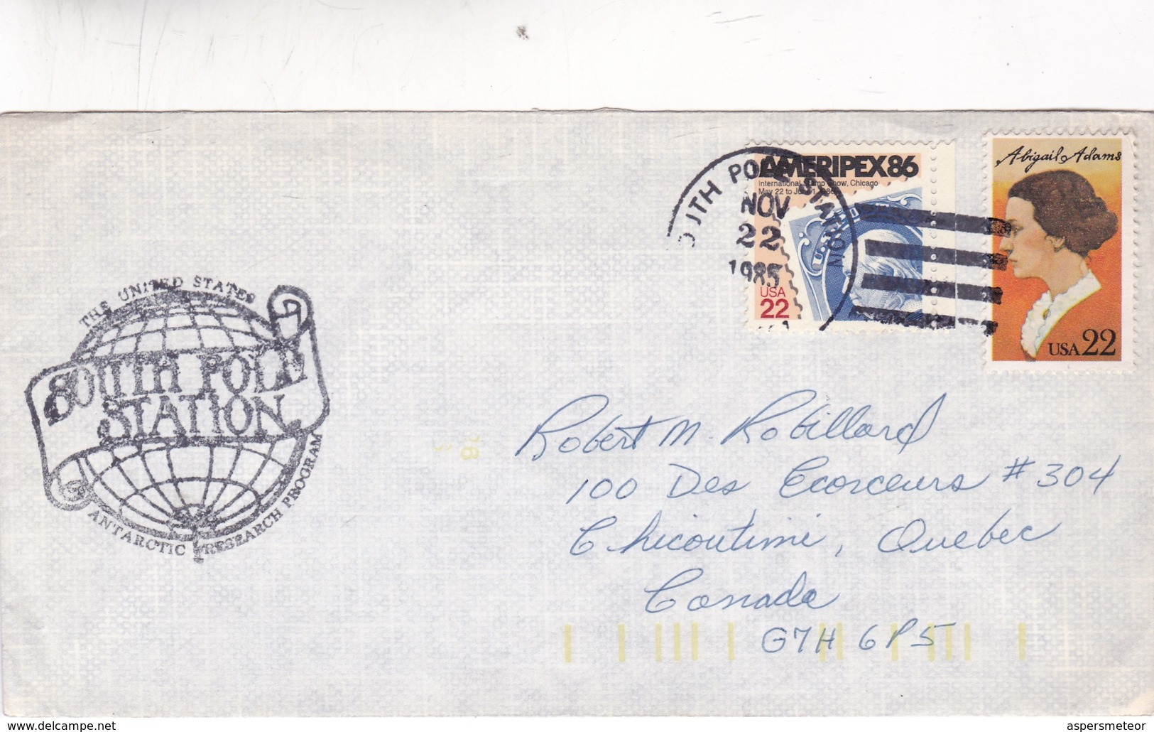 1985 AIRMAIL CIRCULEE USA SOUTH POLAR STATION ANTARTIC RESEARCH PROGRAM TO CANADA - BLEUP - Covers & Documents