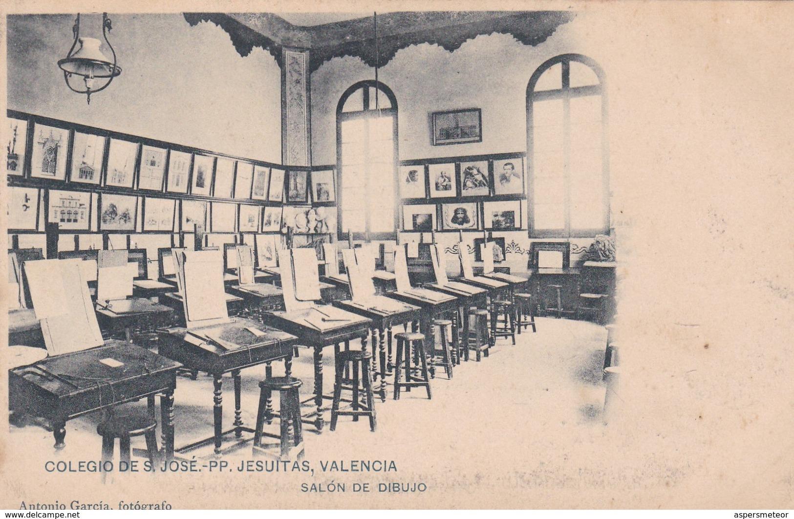 VALENCIA. COLEGIO DE S. JOSE PP JESUITAS. SALON DE DIBUJO. ANTONIO GARCIA FOTO. HAUSER Y MENET. CPA CIRCA 1910s - BLEUP - Valencia