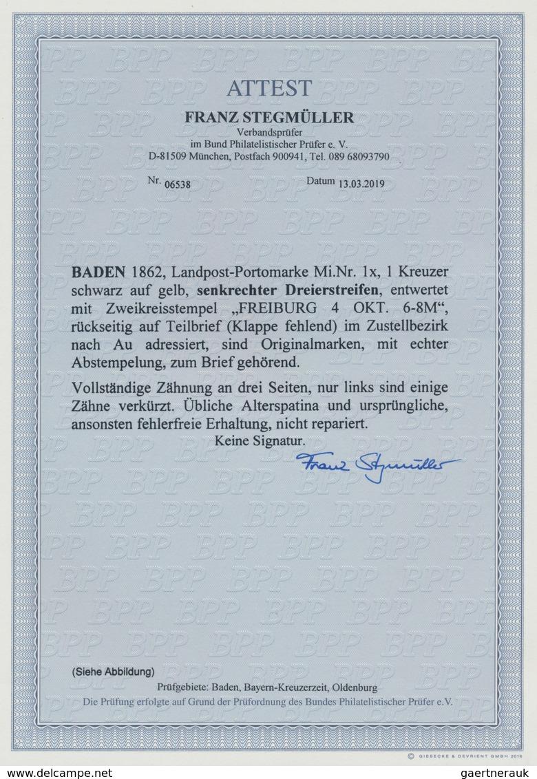 """Baden - Landpostmarken: 1862, 1 Kreuzer Schwarz Auf Gelb Im Senkr. 3er-Streifen Entwertet Mit K2 """"FR - Baden"""