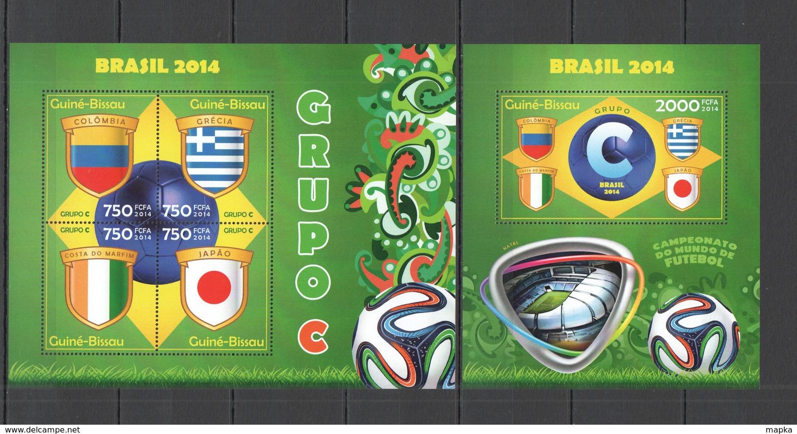 ST1089 2014 GUINE GUINEA-BISSAU SPORT FOOTBALL WORLD CUP BRAZIL GROUP C KB+BL MNH - Coppa Del Mondo