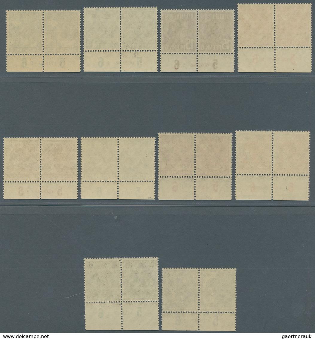 Bizone: 1948, Freimarken Ex. 8 Pf Bis 84 Pf Arbeiterserie, 10 Werte Je Im Waagerechten Postfrischen - Amerikaanse-en Britse Zone
