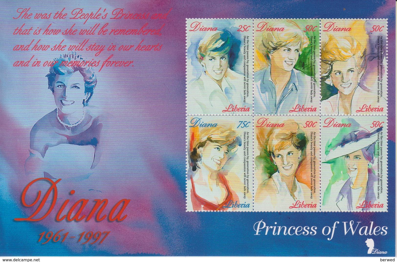 5 Feuillets Différents Sur Lady-Di Neufs ** Du Libéria - Valeur Catalogue €26 - Briefmarken