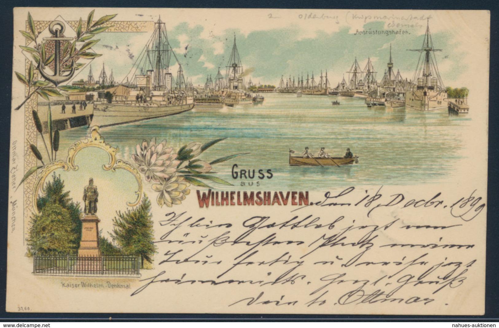 Ansichtskarte Seefahrt Schiff Marine Litho Wilhelmshaven Bahnpost Nach Ulm 1899 - Schiffe