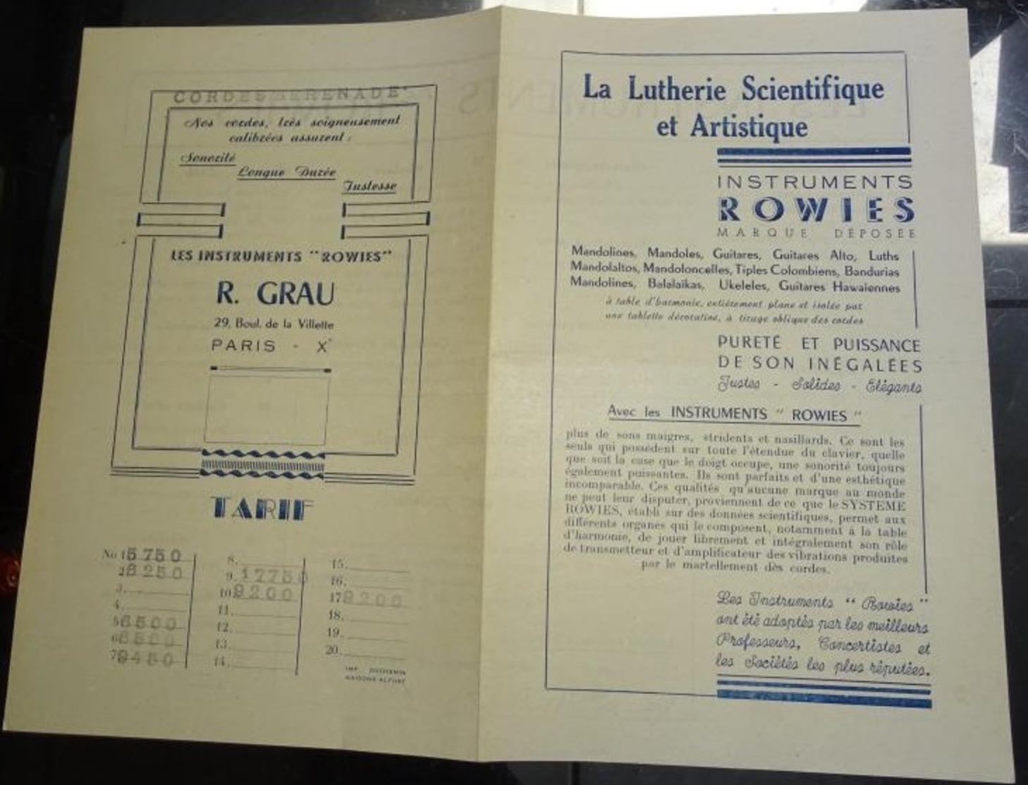 """Ancienne Pub La Lutherie Scientifique Et Artistique - Instruments Rowies Cordes """"sérénade"""" R Grau - Musique & Instruments"""