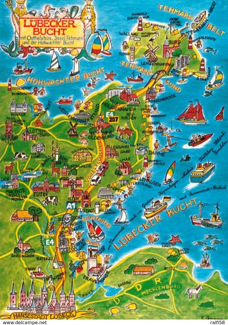 1 Map Of Germany * 1 Ansichtskarte Mit Der Landkarte - Lübecker Bucht, Ostholstein, Insel Fehmarn Und Hohwachter Bucht * - Landkarten