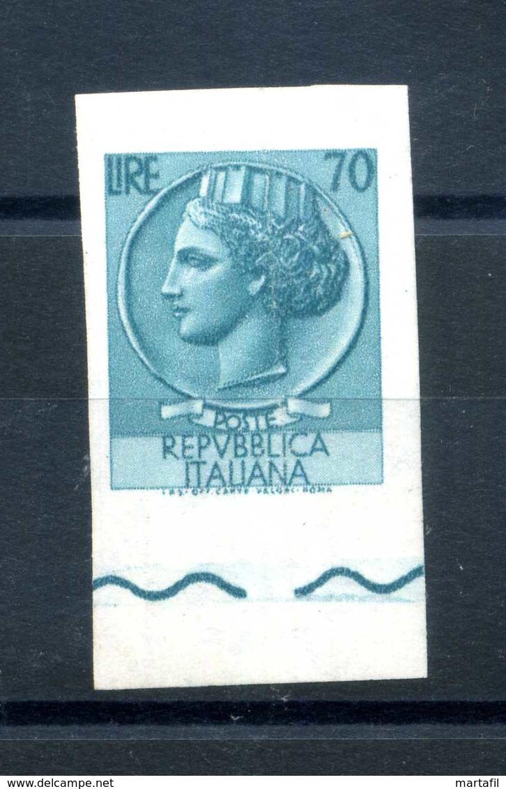 TURRITA VARIETA' NON DENTELLATO BDF MNH ** 70 LIRE - 6. 1946-.. Repubblica