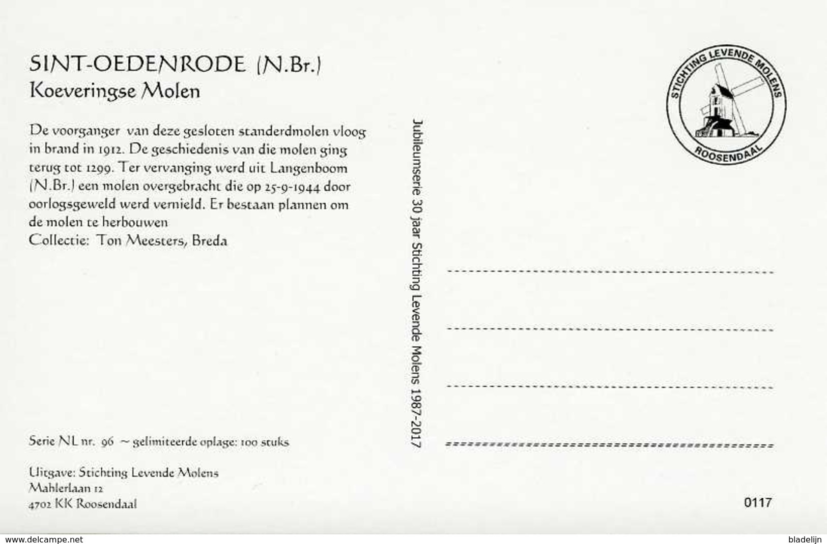 SINT-OEDENRODE - Meierijstad (N.Br.) - Molen/moulin - De Verdwenen Koeveringse Standerdmolen Omstreeks 1930 - Nederland