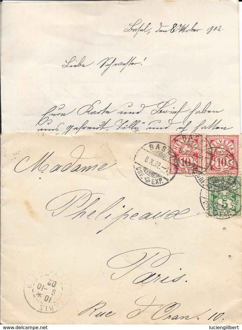 SUISSE  -  CACHET BASEL 1902 -  POUR PARIS  -  COURRIER - Poststempel