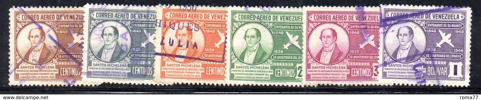 CI1148 - VENEZUELA 1949, Posta Aerea Serie Yvert N. 266/271  Usato . - Venezuela