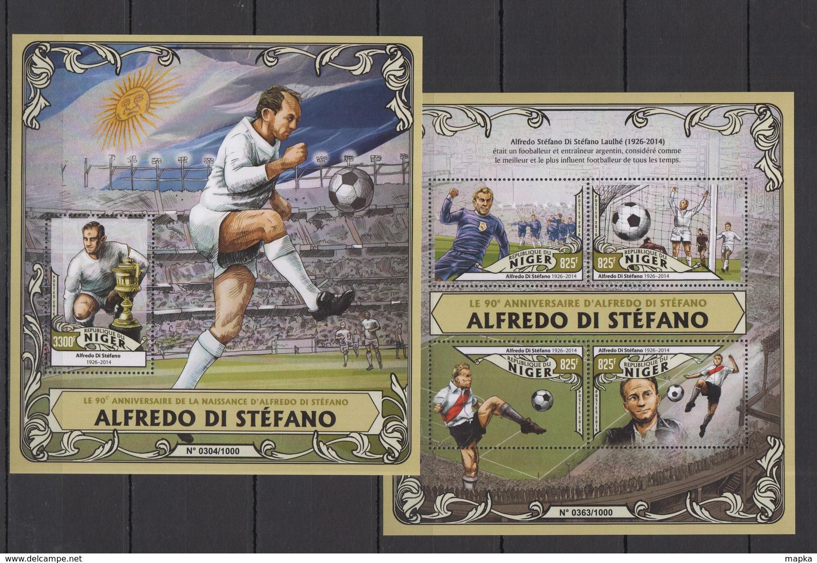 RR975 2016 NIGER SPORT FOOTBALL 90TH ANNIVERSARY ALFREDO DI STEFANO KB+BL MNH - Voetbal
