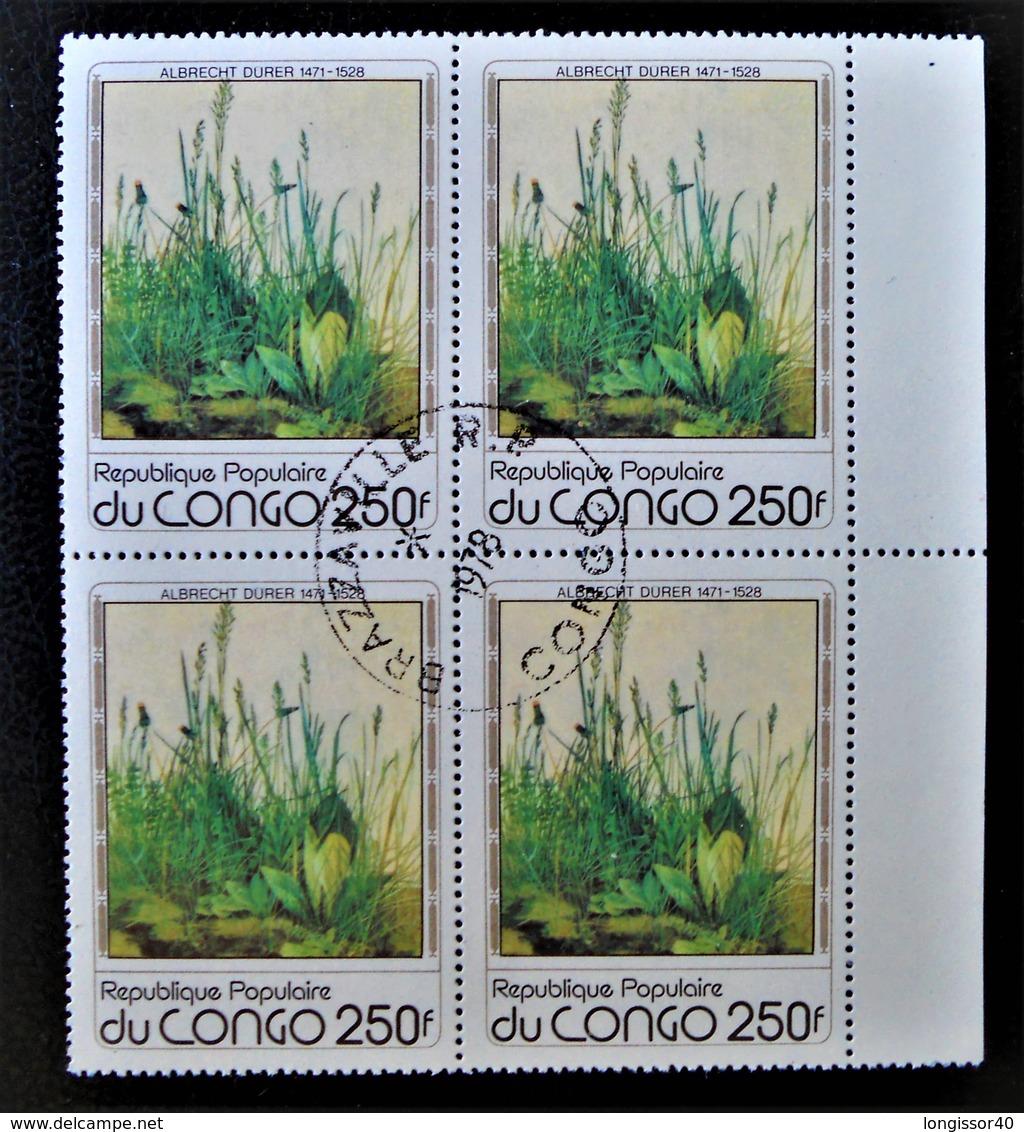 TABLEAU D'ALBRECHT DÜRER - LA PELOUSE 1978 - 1 BL X 4 OBLITERE - YT 522 - MI 659 - BORD DE FEUILLE - Oblitérés