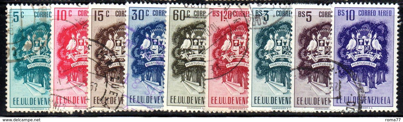 CI1160 - VENEZUELA 1953, Posta Aerea Yvert N. 483/491  Usata  Portuguesa - Venezuela