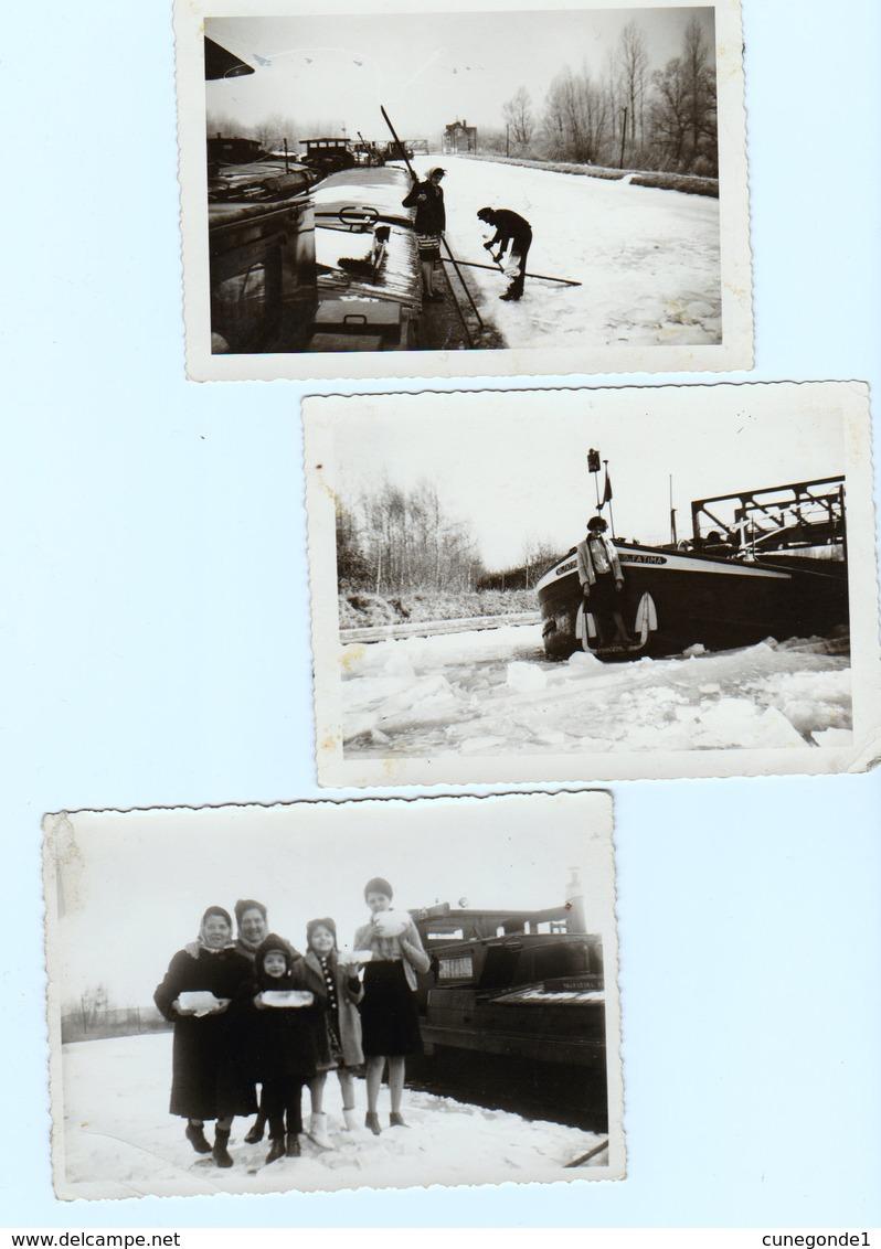 Lot De 5 Photos Bateliers ( Péniche N-D. De Fatima ) Sur Canal Gelé Et Enneigé - Boats