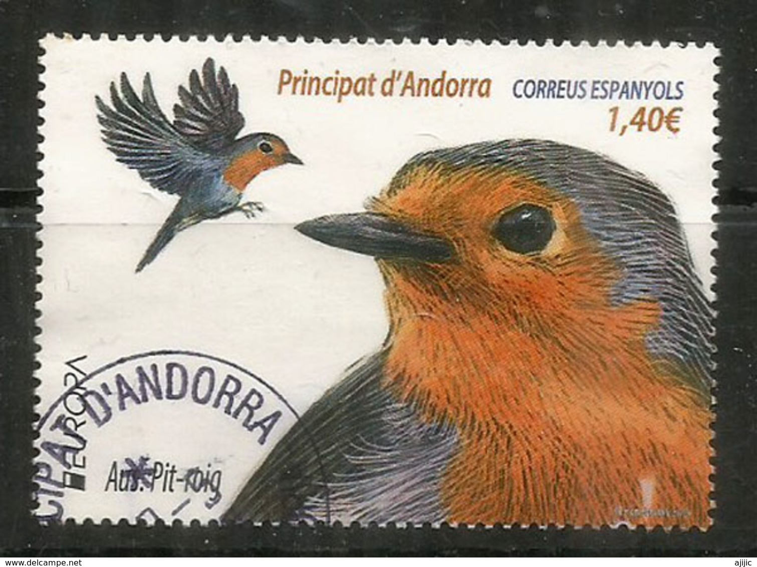 Le Rouge-Gorge. (Petirrojo Europeo) Europa 2019, Andorra,  Oblitéré, 1 ère Qualité, Haute Faciale - Andorre Français