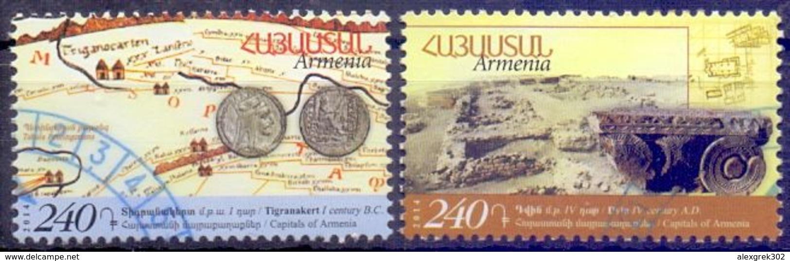 Used Armenia 2014,Historical Capitals Of Armenia.Dvin & Tigranakert 2V. - Armenië