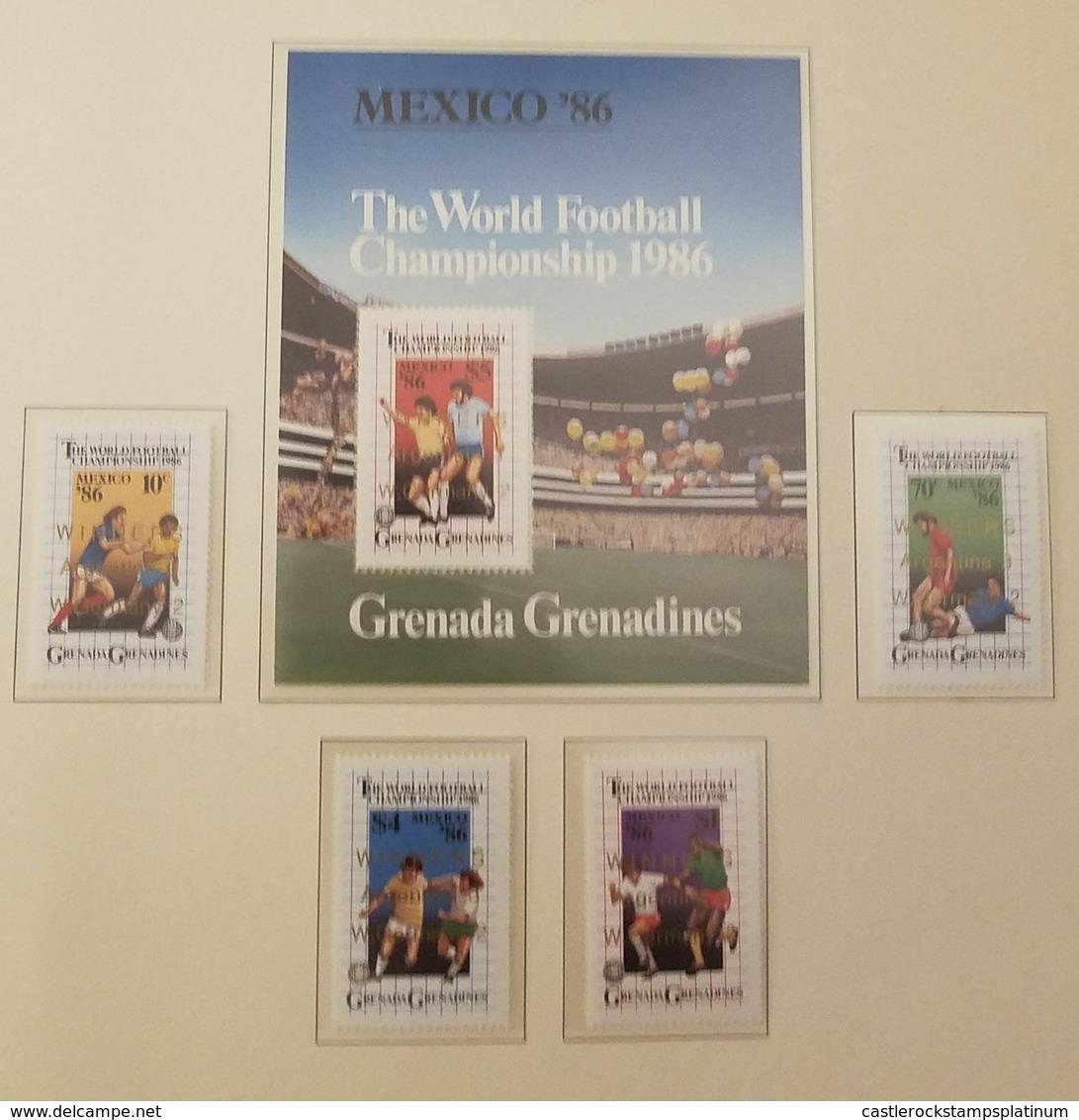 O) 1986 GRENADA GRENADINES, THE WORLD FOOTBALL - 1986 WORLD CUP SOCCER CHAMPIONSHIPS -SOCCER PLAYS - SCT 739-742 -SCT 74 - Grenada (1974-...)