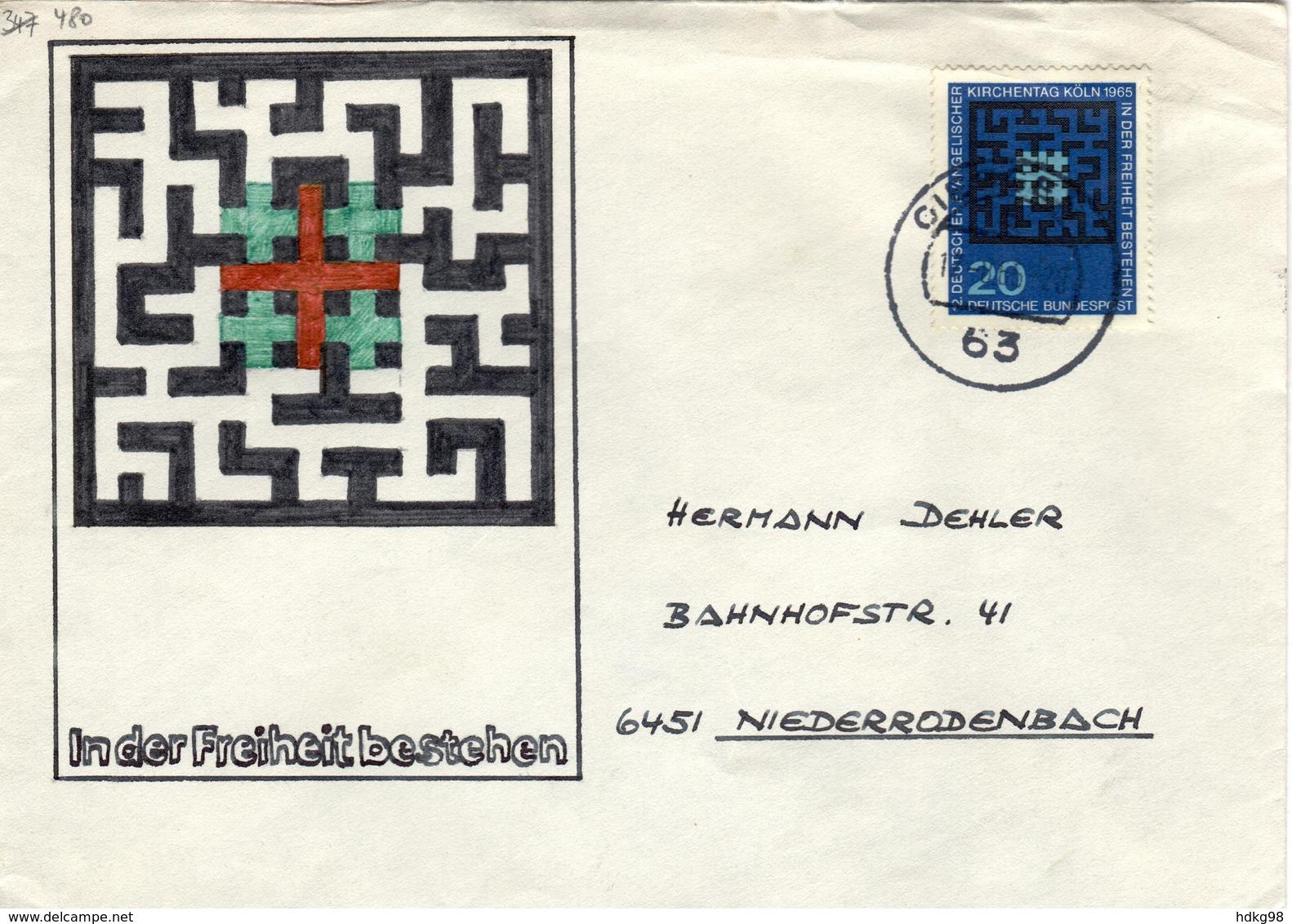 D+ Deutschland 1965 Mi 480 Evangel. Kirchentag (UNIKAT / ÙNICO / PIÉCE UNIQUE / JEDINEČNÝ) - Covers & Documents