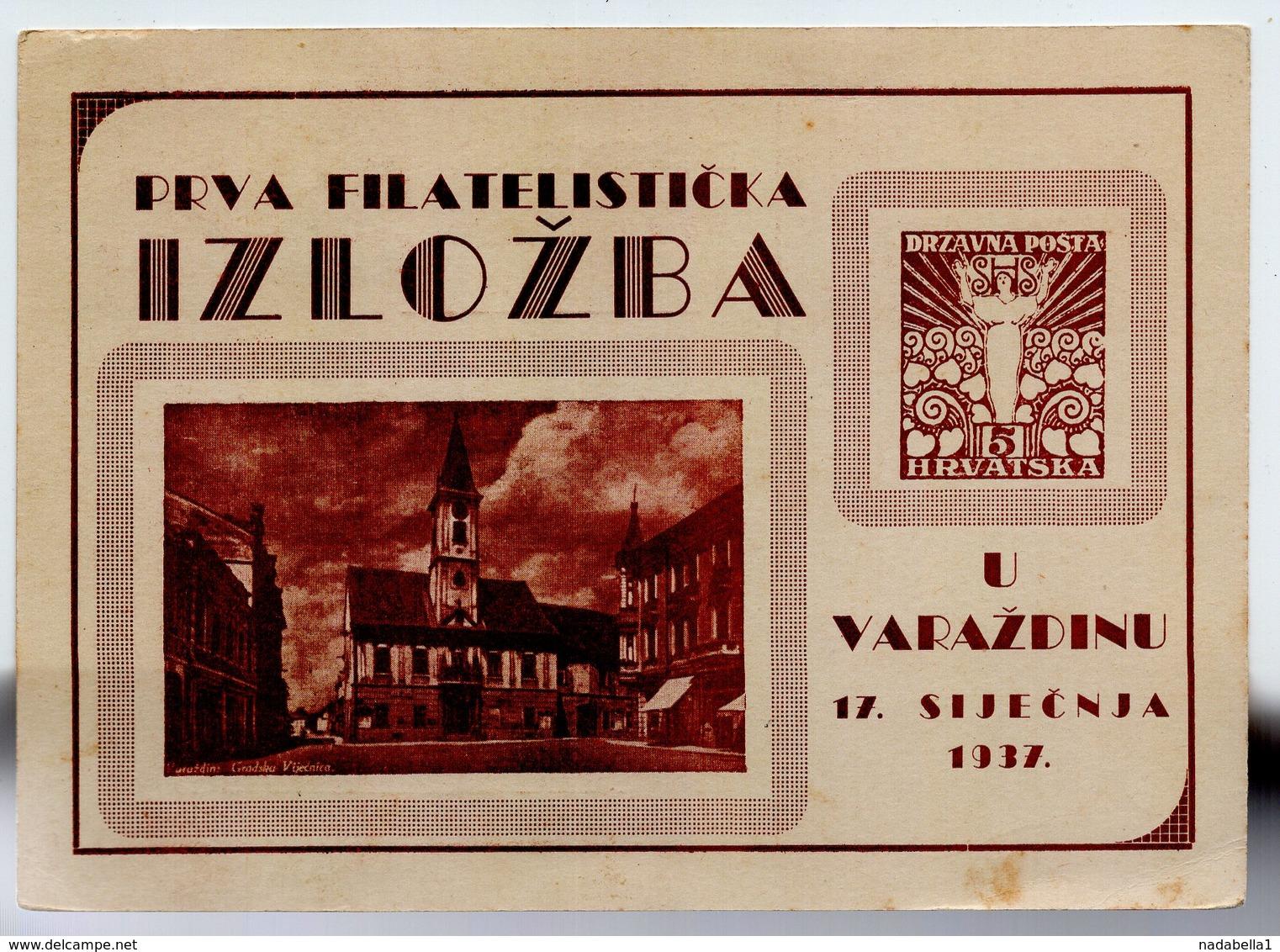 1937 YUGOSLAVIA, CROATIA, SPECIAL CARD AND SPECIAL CANCELATION IN RED - 1931-1941 Kingdom Of Yugoslavia