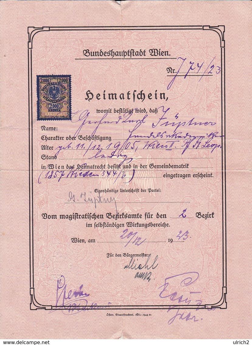 Heimatschein Wien - Stempelmarken - 1923 (41543) - Historische Dokumente