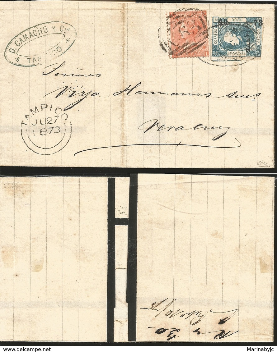 J) 1873 MEXICO, HIDALGO, 12 CENTS BLUE, FOUR PENNY, MULTIPLE STAMPS, BRITISH OFFICE, MULTIPLE STAMPS, CIRCULATED COVER, - Mexico
