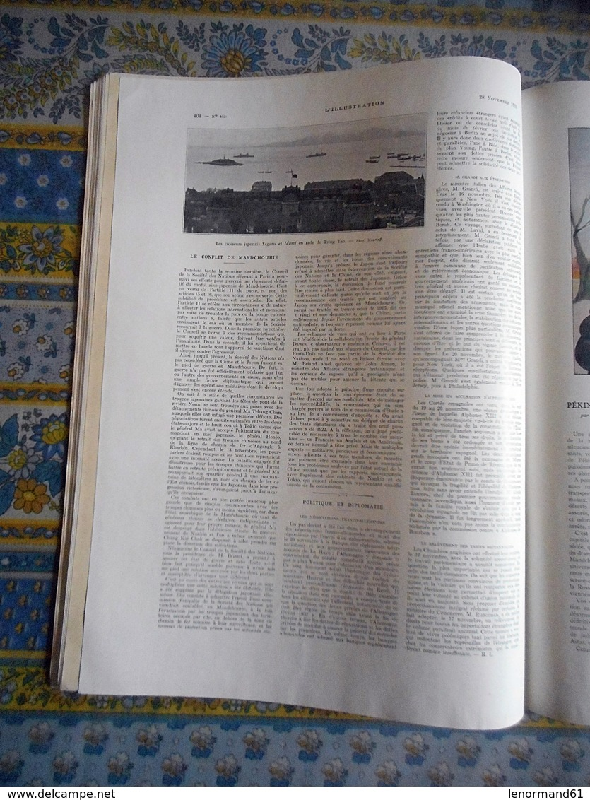 L ILLUSTRATION 28/11/1931 MANDCHOURIE RIVESALTES JOFFRE CAMBODGE ANNAM ANGKOR HUE PHU LOC CHINE PEKIN GARONNE RUSSIE - Journaux - Quotidiens