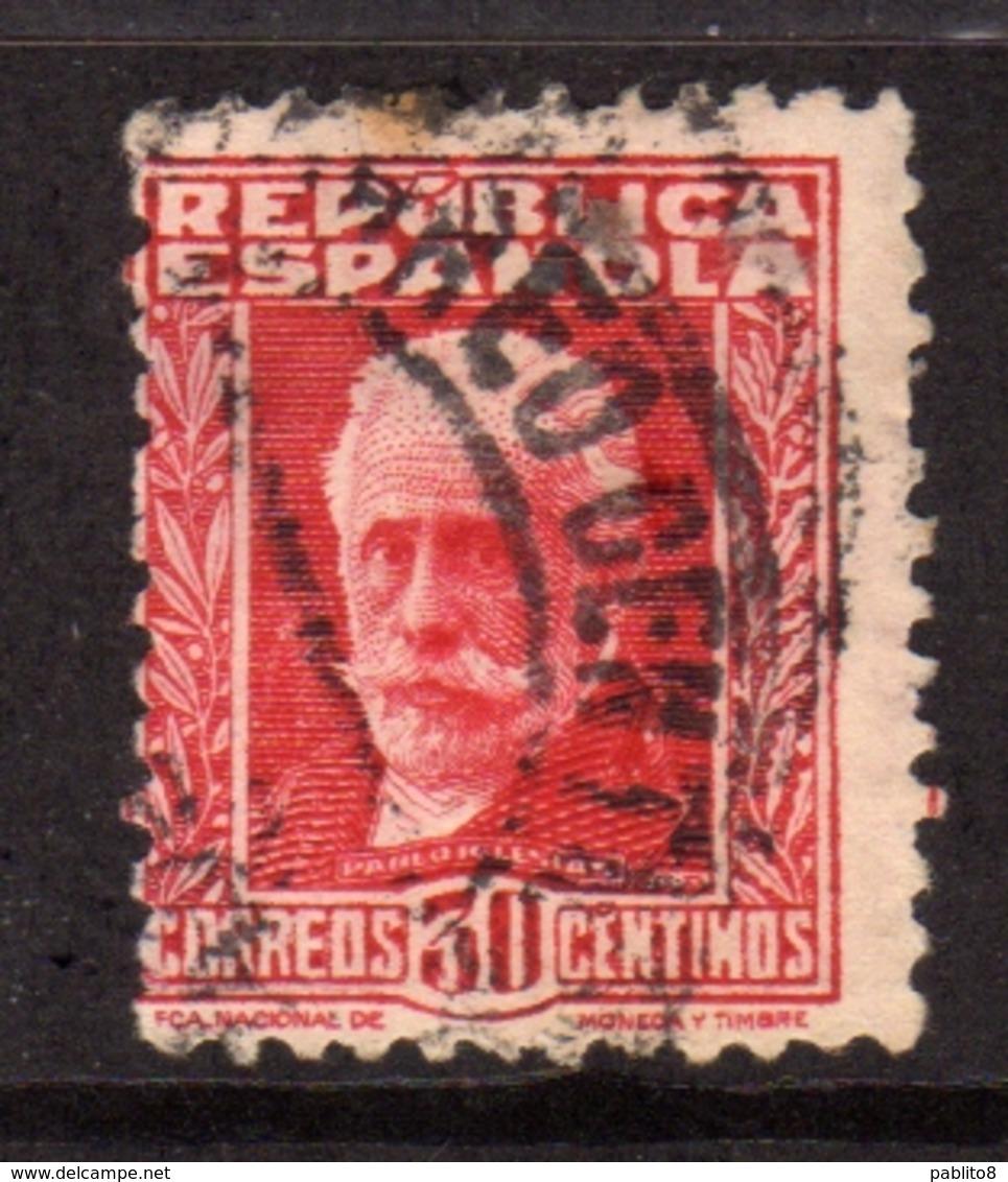 SPAIN ESPAÑA SPAGNA 1931 1932 PABLO IGLESIAS CENT. 30c USATO USED OBLITERE' - 1931-50 Oblitérés