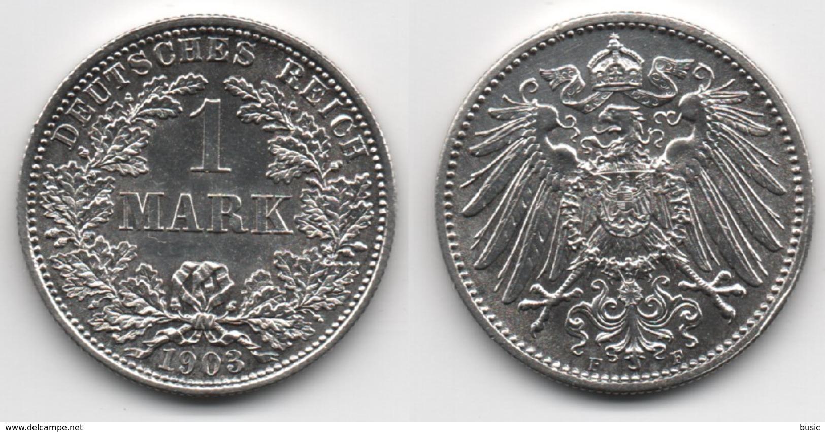 + ALLEMAGNE + TRES BELLE + 1 MARK 1903 F +  652 000 Exemplaires + - [ 2] 1871-1918 : German Empire