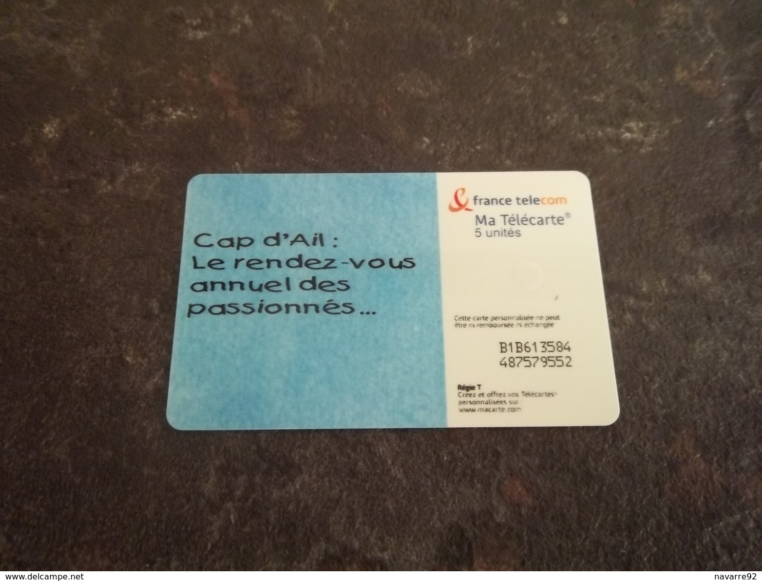 "TELECARTE ""MA TELECARTE"" CAP D'AIL 5 UNITES RARE !!! - France"