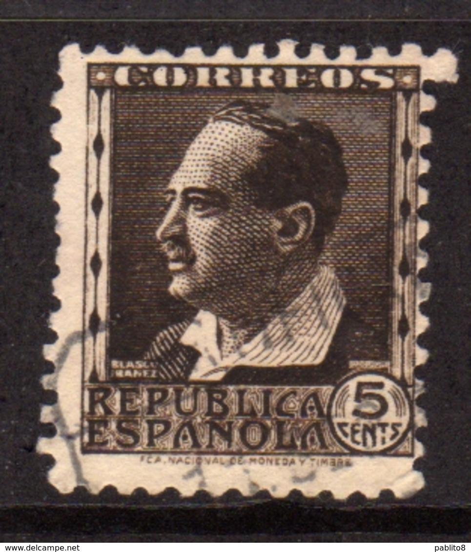 SPAIN ESPAÑA SPAGNA 1931 1934 BLASCO IBANEZ CENT. 5c USATO USED OBLITERE' - 1931-Aujourd'hui: II. République - ....Juan Carlos I