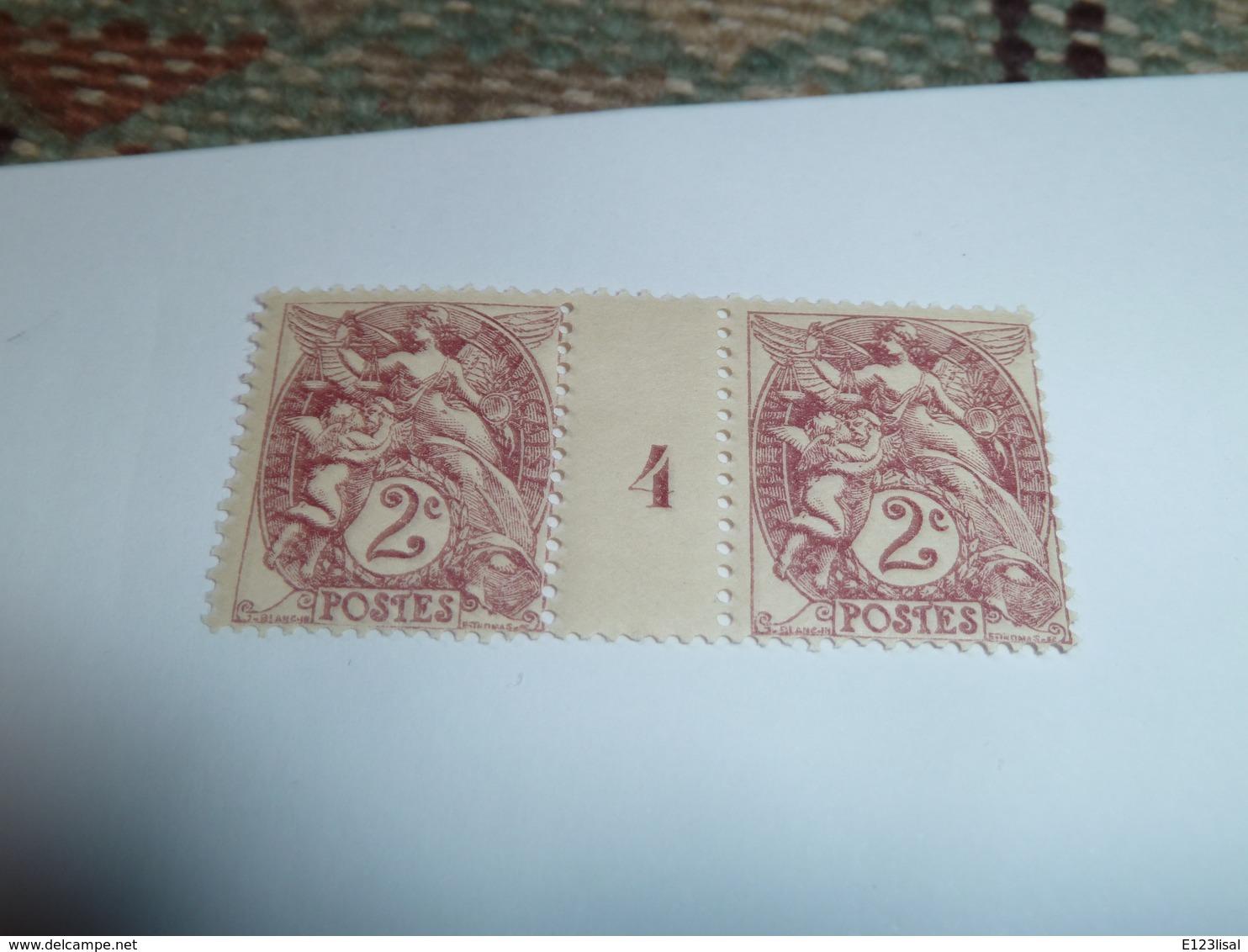 Millésime TYPE BLANC ; 2c Brun Lilas  YT N° 108  Millésime 4 - 1900-29 Blanc