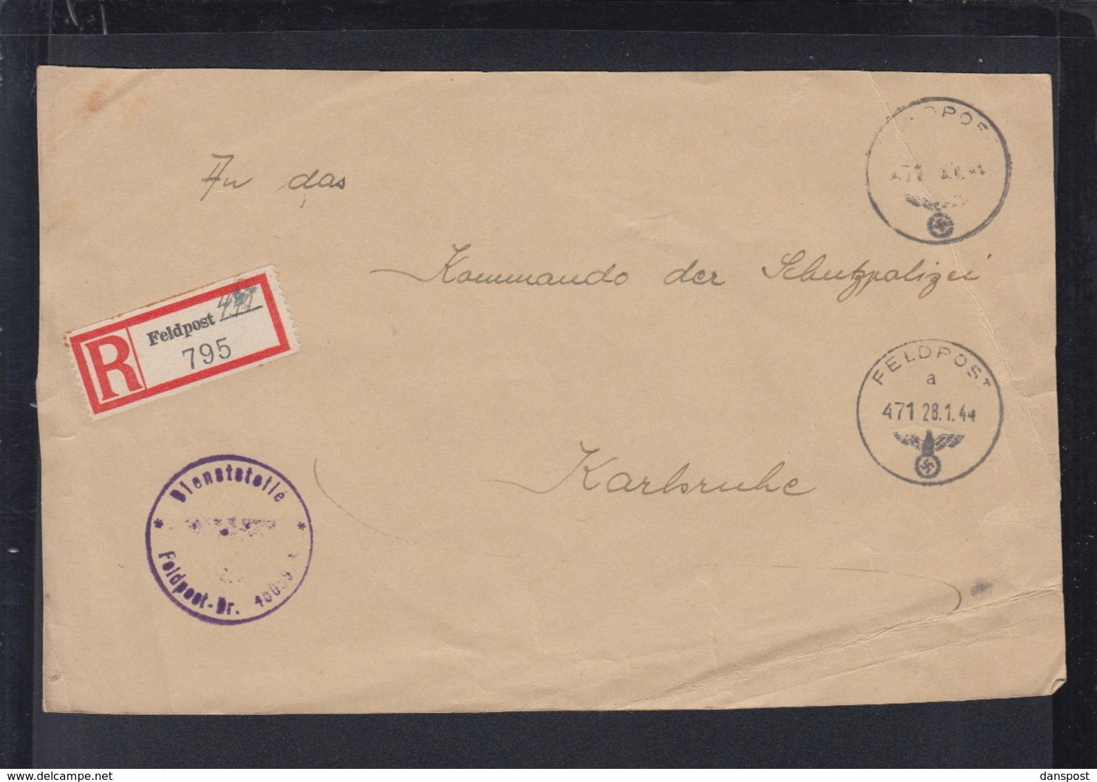 Dt. Reich Feldpost R-Zettel Auf Brief Vorderseite 1944an Schupo Karlsruhe - Duitsland