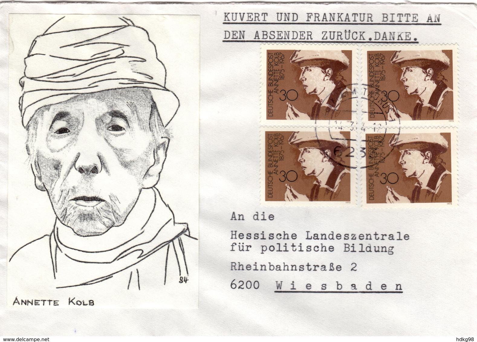 D+ Deutschland 1975 Mi 826 Annette Kolb (UNIKAT / ÙNICO / PIÉCE UNIQUE / JEDINEČNÝ) - BRD