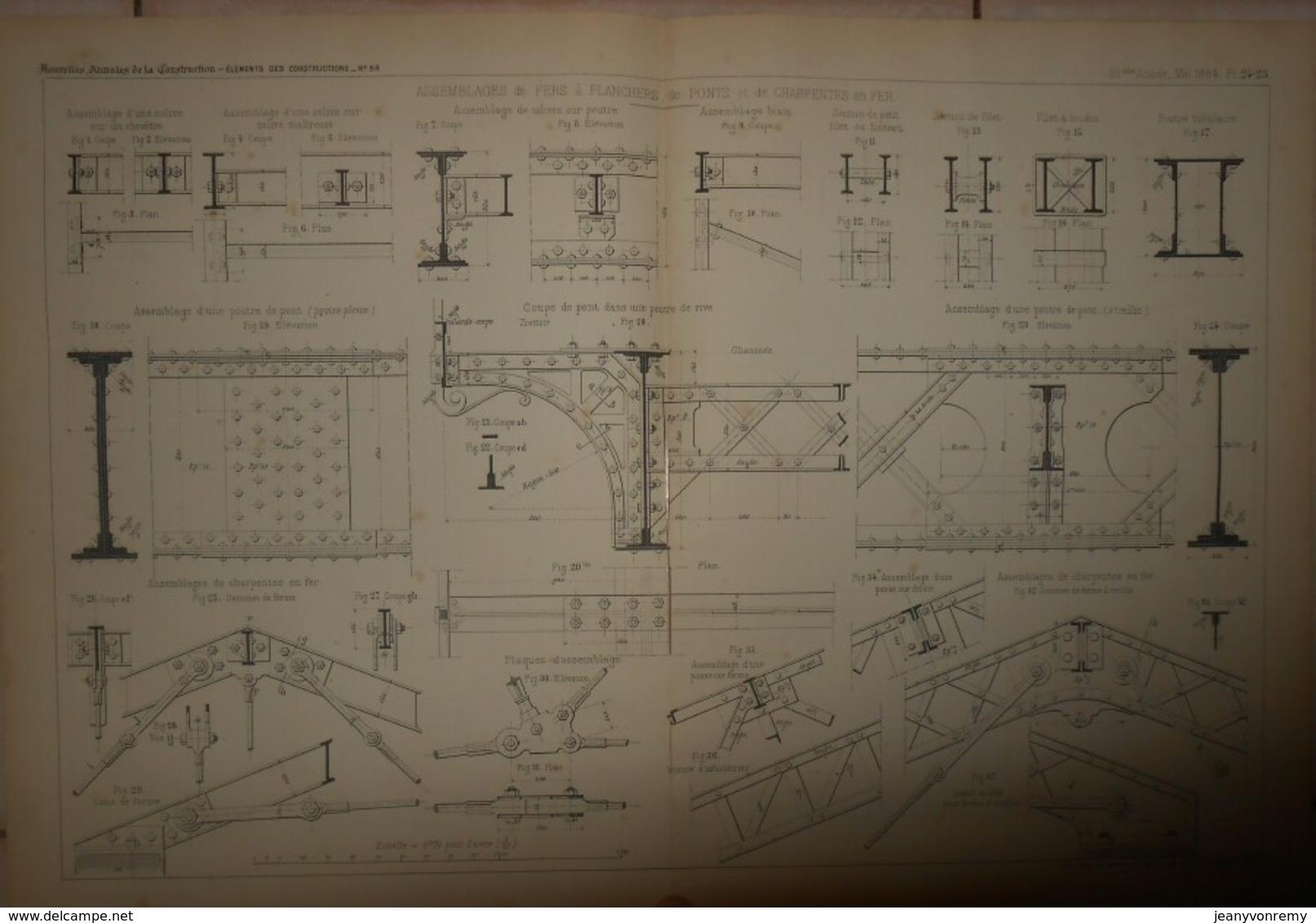 Plan D'assemblages De Fers à Planchers, De Ponts Et De Charpentes En Fer.1884. - Travaux Publics
