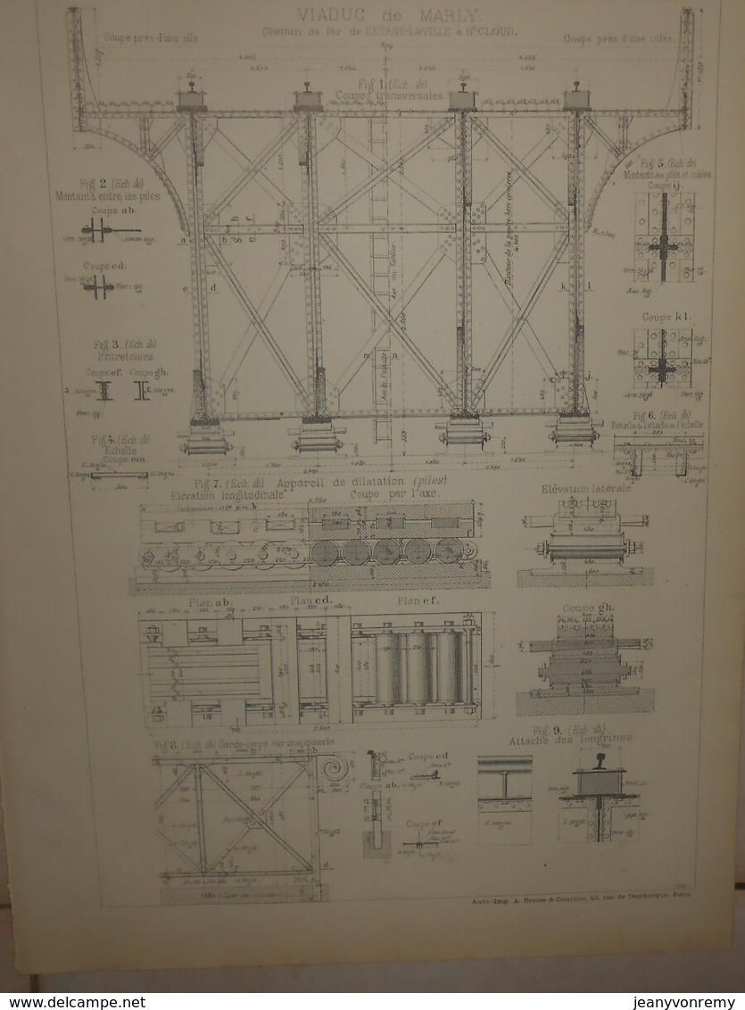 Plan Du Viaduc De Marly. Chemin De Fer De L'Etang La Ville à Saint Cloud.1884. - Public Works