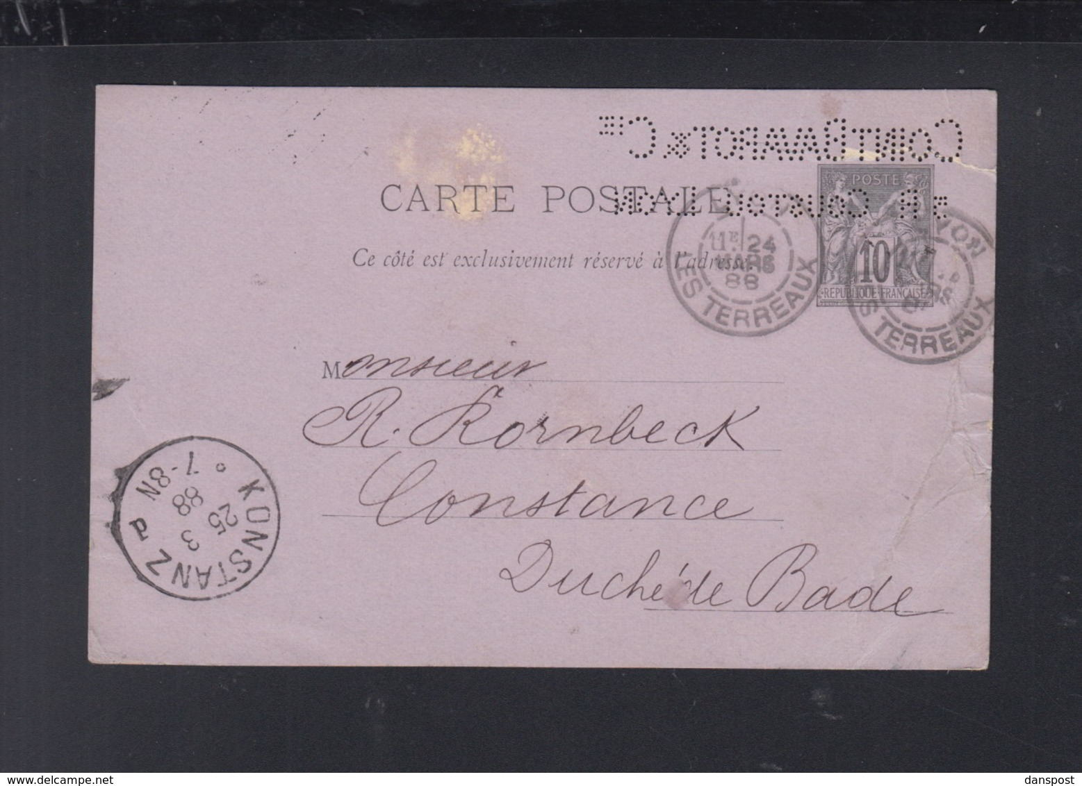 Frankreich France GSK 1888 Lyon Lochung Perfin Coint Bavarot & Cie - Biglietto Postale