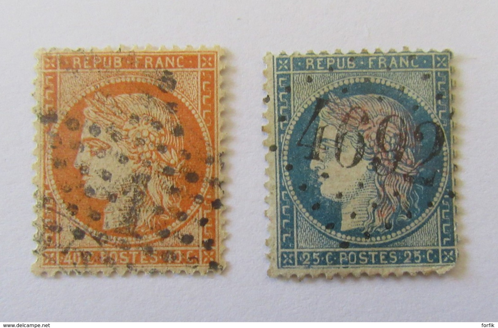 France - 2 Timbres Cérès 40c YT N°38 Ob. Etoile Chiffrée 1 + 25c YT N°60A Ob. GC 4692 (Baixas, Pyrénées-Orientales) - France