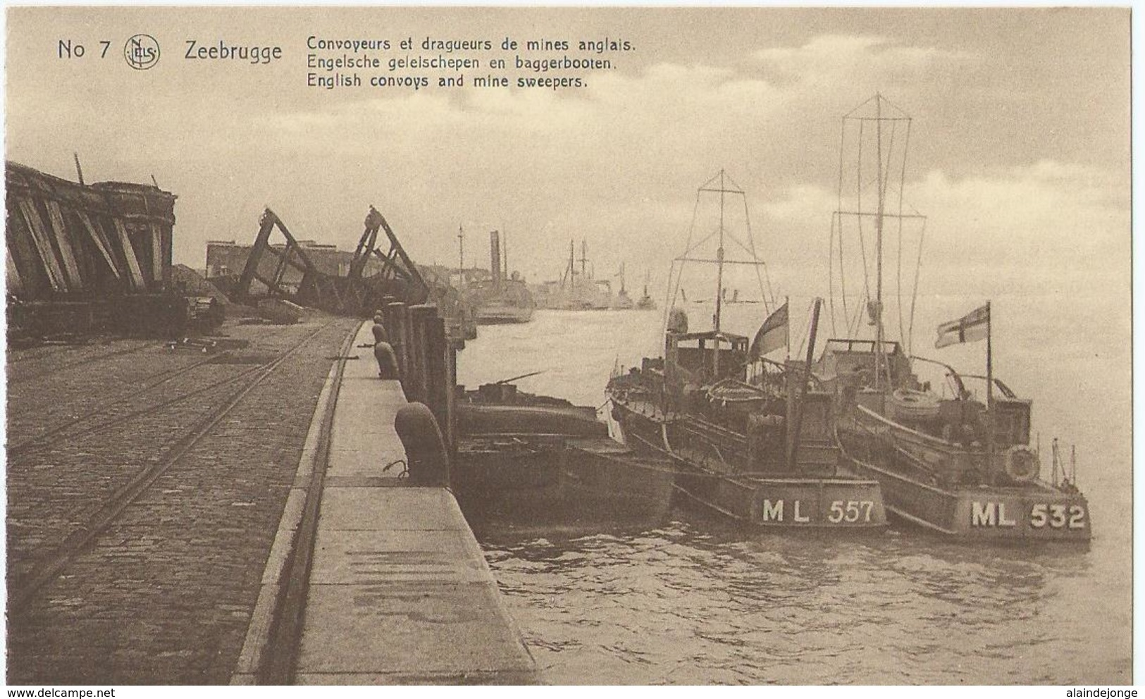 Zeebrugge - No 7 - Convoyeurs Et Drageurs De Mines Anglais - English Convoys And Mine Sweepers - Zeebrugge