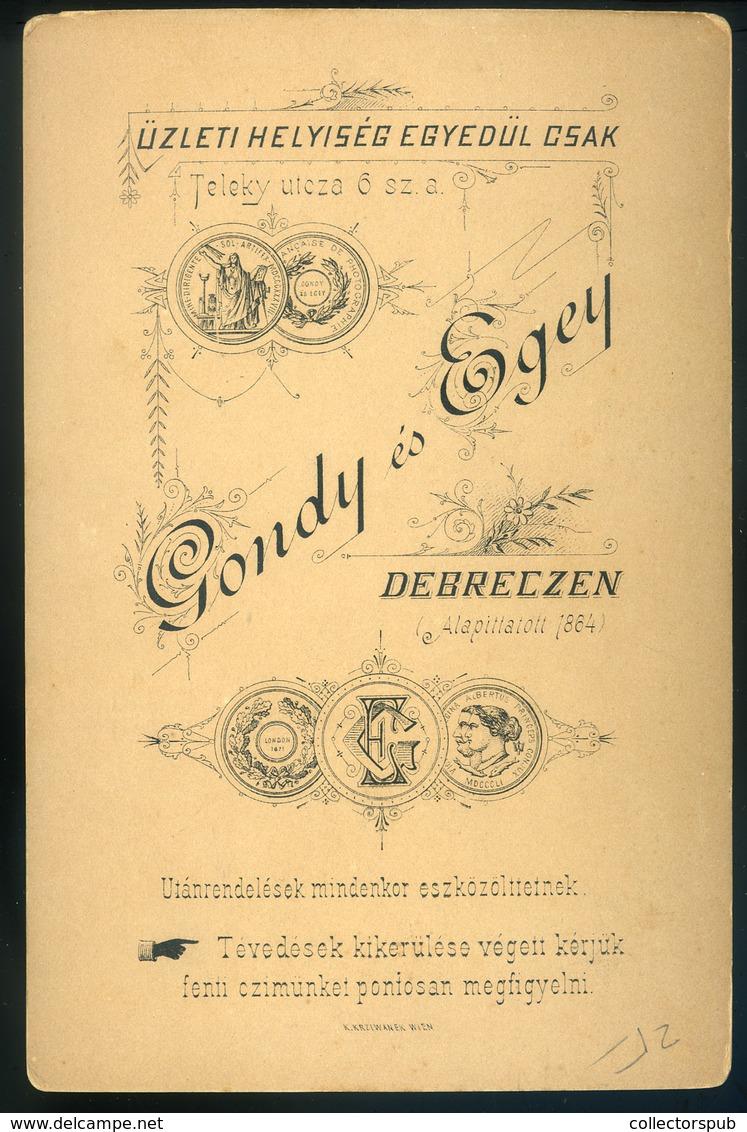 DEBRECEN 1885. Ca. Gondy és Egey : Ismeretlen Férfi Szép Cabinet Fotó - Andere