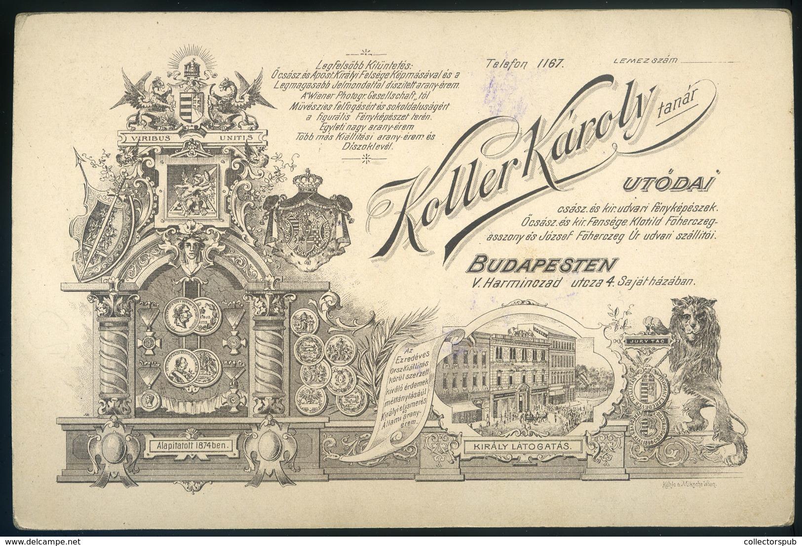 BUDAPEST Koller Tanár Utódai : Ismeretlen Férfi Szép Cabinet Fotó , Gyönyörű Verso! - Foto's