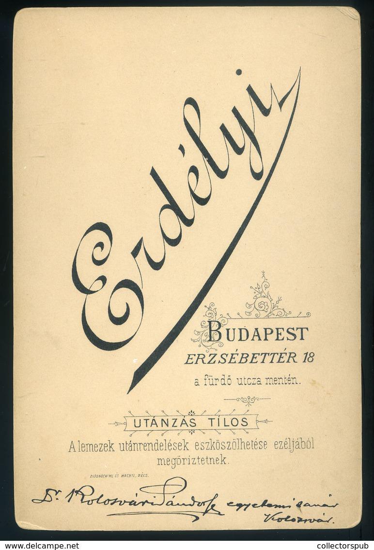 BUDAPEST Erdélyi : Dr Kolozsvári Sándor 1840-1922.  Jogász, Egyetemi Tanár Szép Cabinet Fotó - Andere
