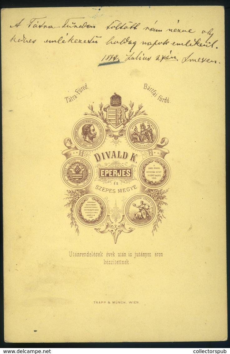 EPERJES 1877. Divald K.: Pázmándy Géza Szép Cabinet Fotó - Foto's