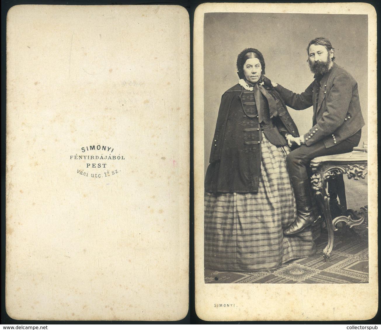 PEST 1860.ca. Simonyi : Ismeretlen Pár, Ritka Visit Fotó - Foto's