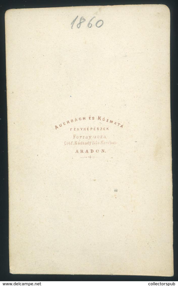 ARAD 1860.  Auerbach és Kozmata: Ismeretlen Hölgy, Nagyon Ritka, Tökéletes Visit Fotó - Andere